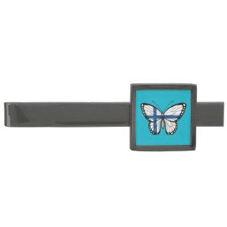 Bandera finlandesa de la mariposa alfiler de corbata metalizado