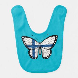 Bandera finlandesa de la mariposa babero para bebé