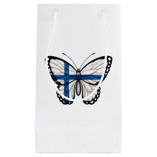 Bandera finlandesa de la mariposa bolsa de regalo pequeña