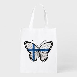 Bandera finlandesa de la mariposa bolsa reutilizable