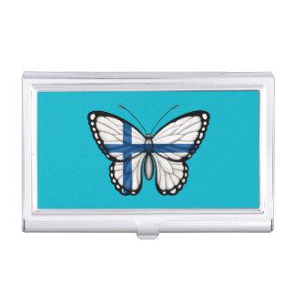 Bandera finlandesa de la mariposa caja de tarjetas de negocios