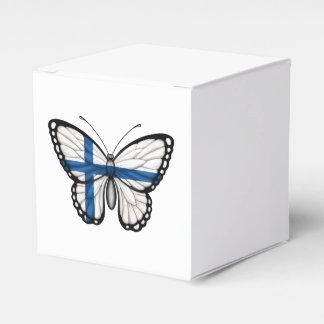 Bandera finlandesa de la mariposa caja para regalo de boda
