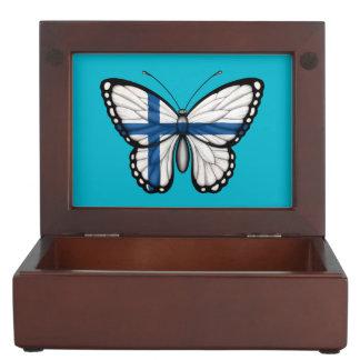 Bandera finlandesa de la mariposa cajas de recuerdos