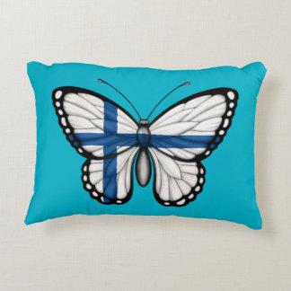 Bandera finlandesa de la mariposa cojín decorativo