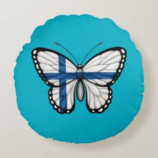 Bandera finlandesa de la mariposa cojín redondo