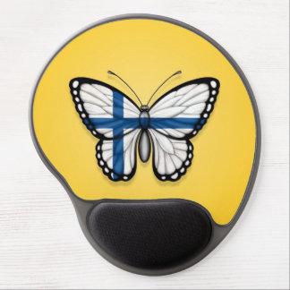 Bandera finlandesa de la mariposa en amarillo alfombrilla de raton con gel