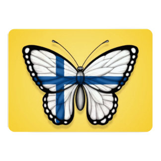 """Bandera finlandesa de la mariposa en amarillo invitación 5"""" x 7"""""""