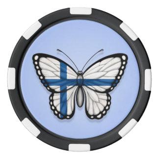 Bandera finlandesa de la mariposa en azul fichas de póquer
