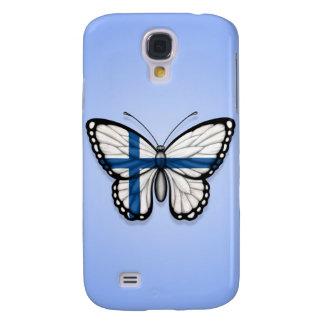 Bandera finlandesa de la mariposa en azul funda para galaxy s4
