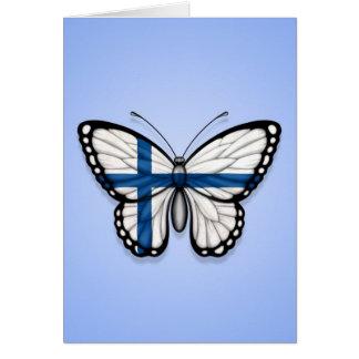 Bandera finlandesa de la mariposa en azul tarjeta de felicitación