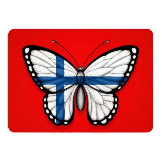 """Bandera finlandesa de la mariposa en rojo invitación 5"""" x 7"""""""