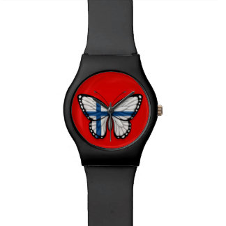 Bandera finlandesa de la mariposa en rojo reloj de mano