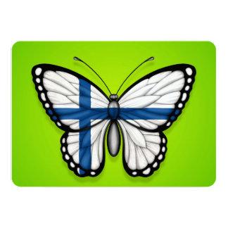 """Bandera finlandesa de la mariposa en verde invitación 5"""" x 7"""""""