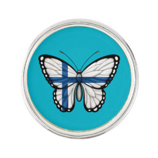 Bandera finlandesa de la mariposa insignia