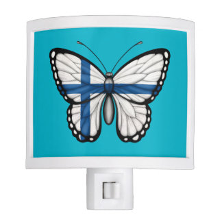 Bandera finlandesa de la mariposa lámparas de noche