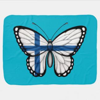 Bandera finlandesa de la mariposa mantas de bebé