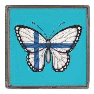 Bandera finlandesa de la mariposa pins metalizados