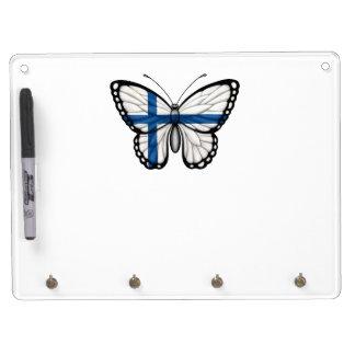 Bandera finlandesa de la mariposa pizarras blancas de calidad