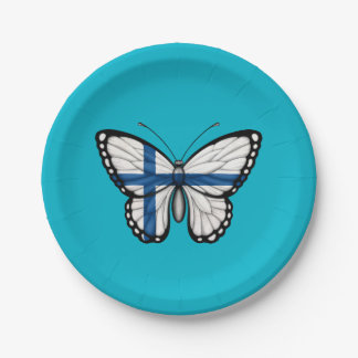 Bandera finlandesa de la mariposa plato de papel de 7 pulgadas