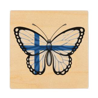 Bandera finlandesa de la mariposa posavasos de madera