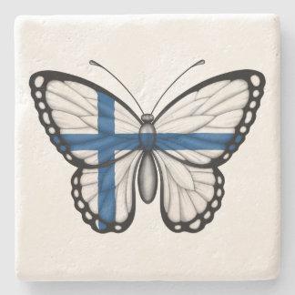Bandera finlandesa de la mariposa posavasos de piedra