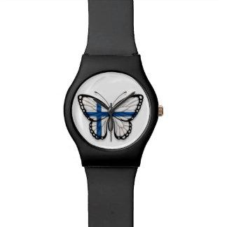 Bandera finlandesa de la mariposa reloj