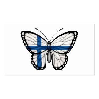Bandera finlandesa de la mariposa tarjetas de visita
