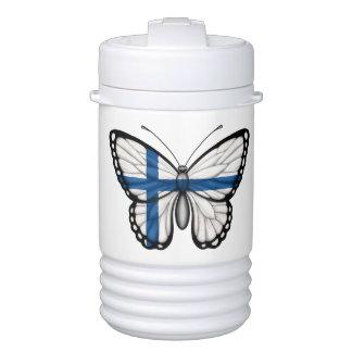 Bandera finlandesa de la mariposa vaso enfriador igloo