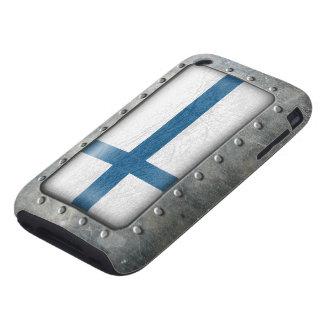 Bandera finlandesa industrial carcasa resistente para iPhone