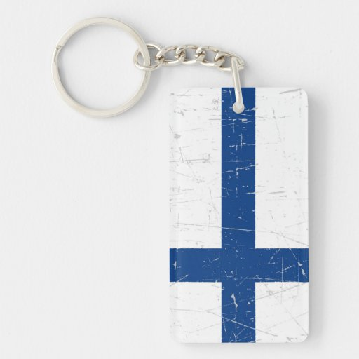 Bandera finlandesa rascada y rasguñada llavero