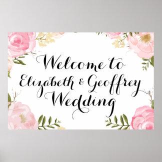 Bandera floral de la recepción del boda del rosa póster