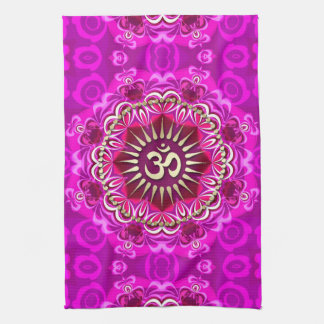 Bandera floral rosada moderna de oro del paño del toallas de cocina