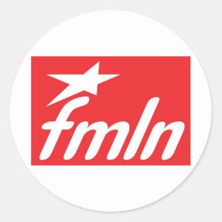 Bandera FMLN Pegatina Redonda
