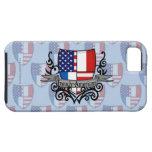 Bandera Francés-Americana del escudo iPhone 5 Case-Mate Protector