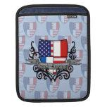 Bandera Francés-Americana del escudo Mangas De iPad