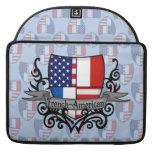 Bandera Francés-Americana del escudo Fundas Para Macbook Pro