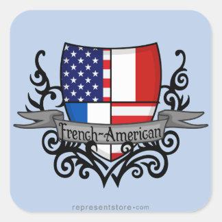 Bandera Francés-Americana del escudo Pegatina Cuadrada