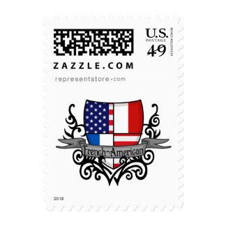 Bandera Francés-Americana del escudo Envio