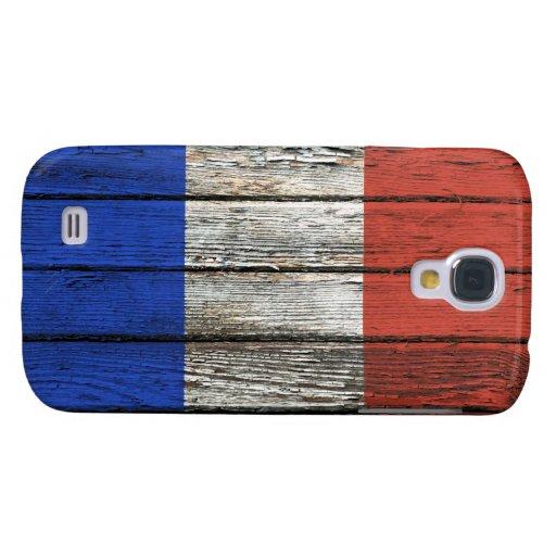 Bandera francesa con efecto de madera áspero del g