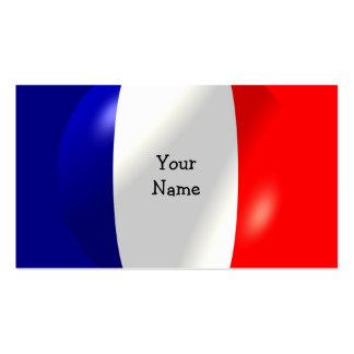 Bandera francesa con la tarjeta de visita de la