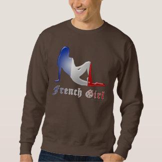 Bandera francesa de la silueta del chica suéter