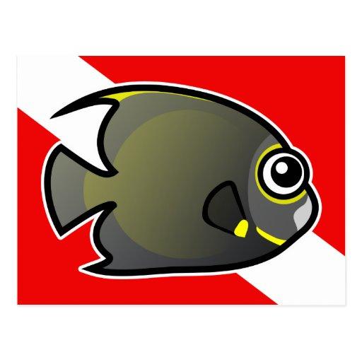 Bandera francesa de la zambullida del Angelfish Tarjeta Postal