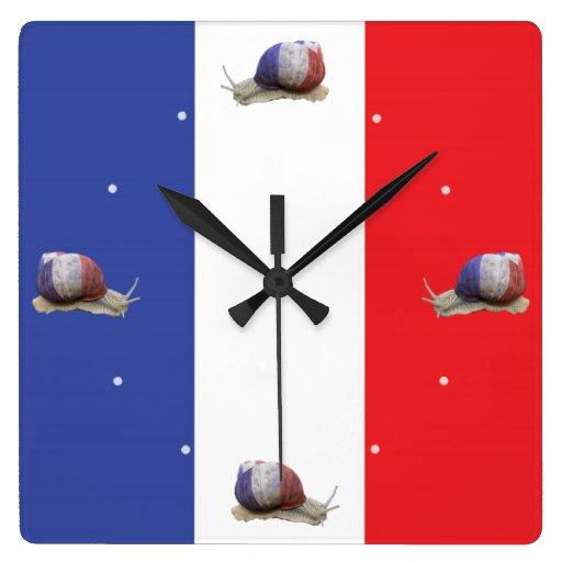 Bandera francesa del caracol reloj cuadrado