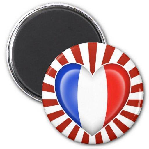 Bandera francesa del corazón con la explosión de l iman de frigorífico