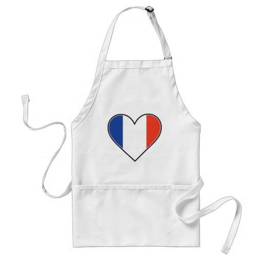 Bandera francesa del corazón delantal