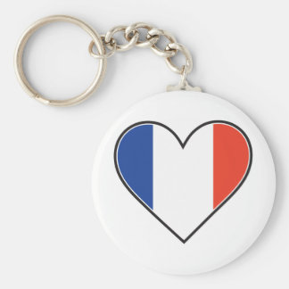 Bandera francesa del corazón llavero redondo tipo pin