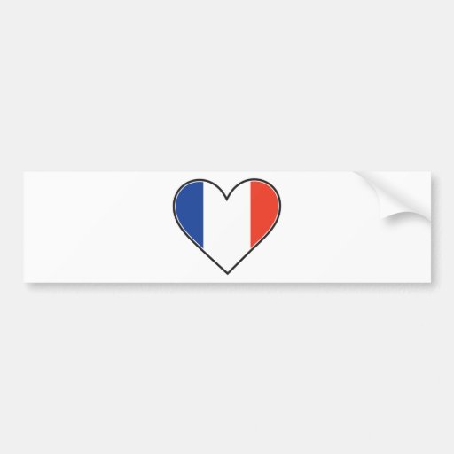 Bandera francesa del corazón pegatina para auto