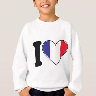 Bandera francesa del corazón remeras