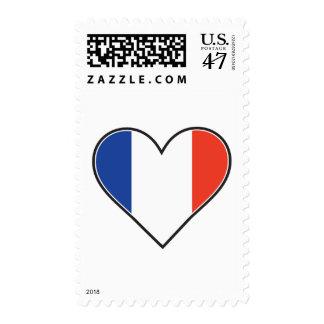 Bandera francesa del corazón sello postal