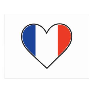 Bandera francesa del corazón tarjeta postal